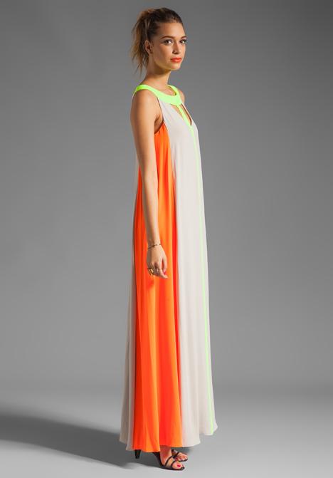 Bcbg wilah color-blocked cutout maxi dress