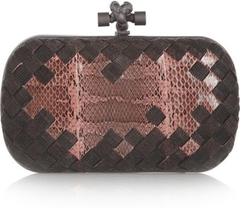 Bottega Veneta The Knot Intrecciato Mesh and Watersnake Clutch - Lyst