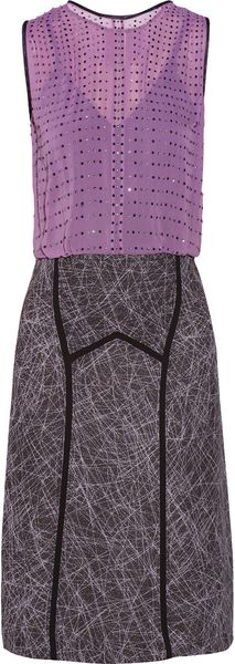 Bottega Veneta Swarovski Crystal-embellished Silkchiffon and Sateen Dress - Lyst