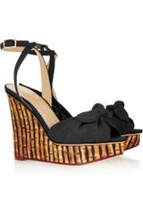 Charlotte Olympia Miranda Canvas and Bamboo print Silk-twill Sandals - Lyst