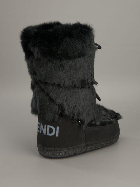 fendi rabbit fur boot in black lyst