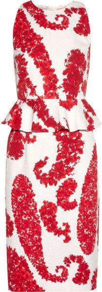 Giambattista Valli Printed Cottonblend Brocade Peplum Dress in Red