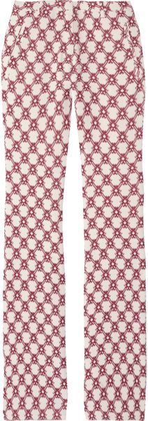 Isabel Marant Mendel Printed Crepe Pants in Red (white) - Lyst