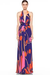 Issa Silk Printed Halter Maxi Dress in Indigo Multi - Lyst