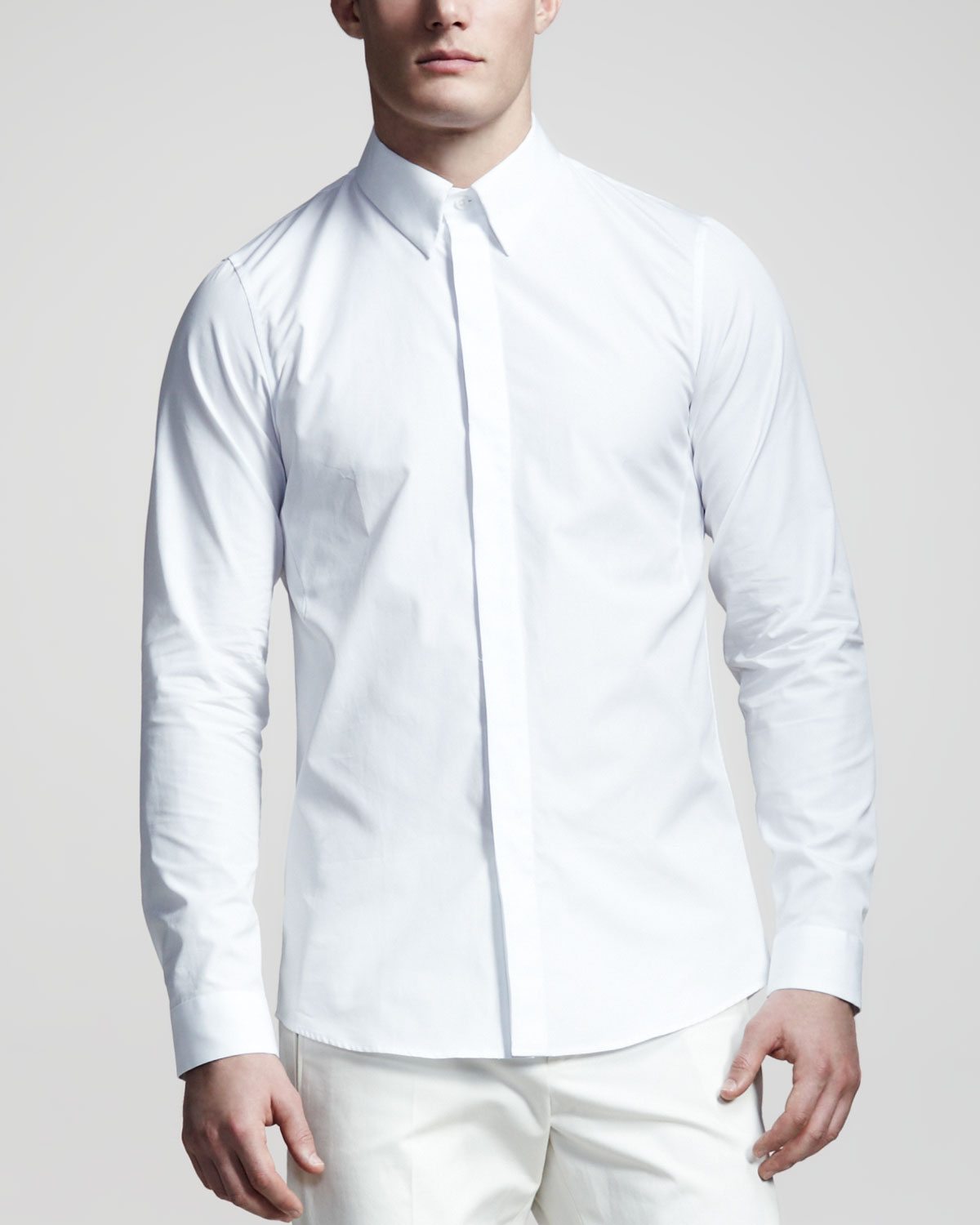 Jil sander covered placket shirt in white for men lyst for Tuxedo shirt covered placket