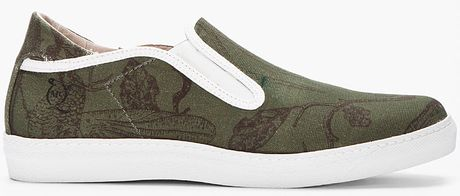 Mcq By Alexander Mcqueen Green Printed Canvas Lowtop Slip On Sneakers in Green for Men