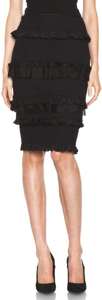 Nina Ricci Ruffle Pencil Skirt in Black - Lyst