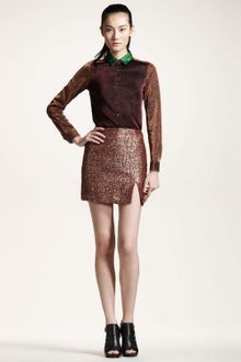 Opening Ceremony Slit Metallic Skirt - Lyst