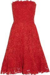 Valentino Strapless Cotton Macramé Lace Dress - Lyst