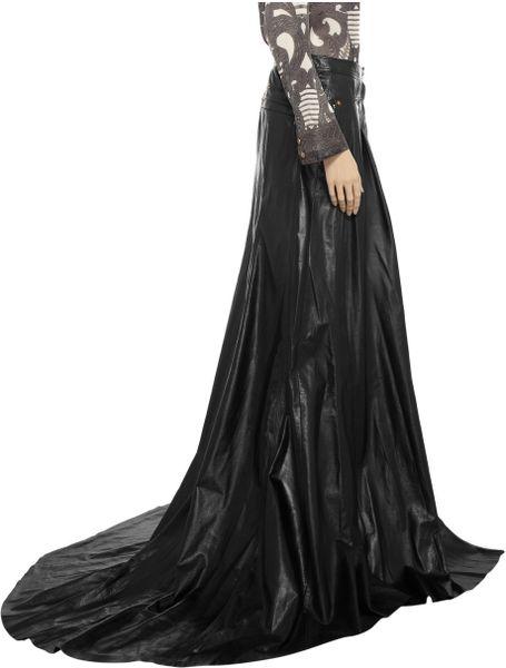 balmain leather maxi skirt in black lyst