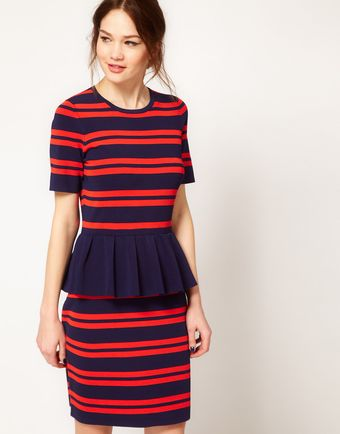 Boutique By Jaeger Peplum Body Con Dress in Stripe - Lyst
