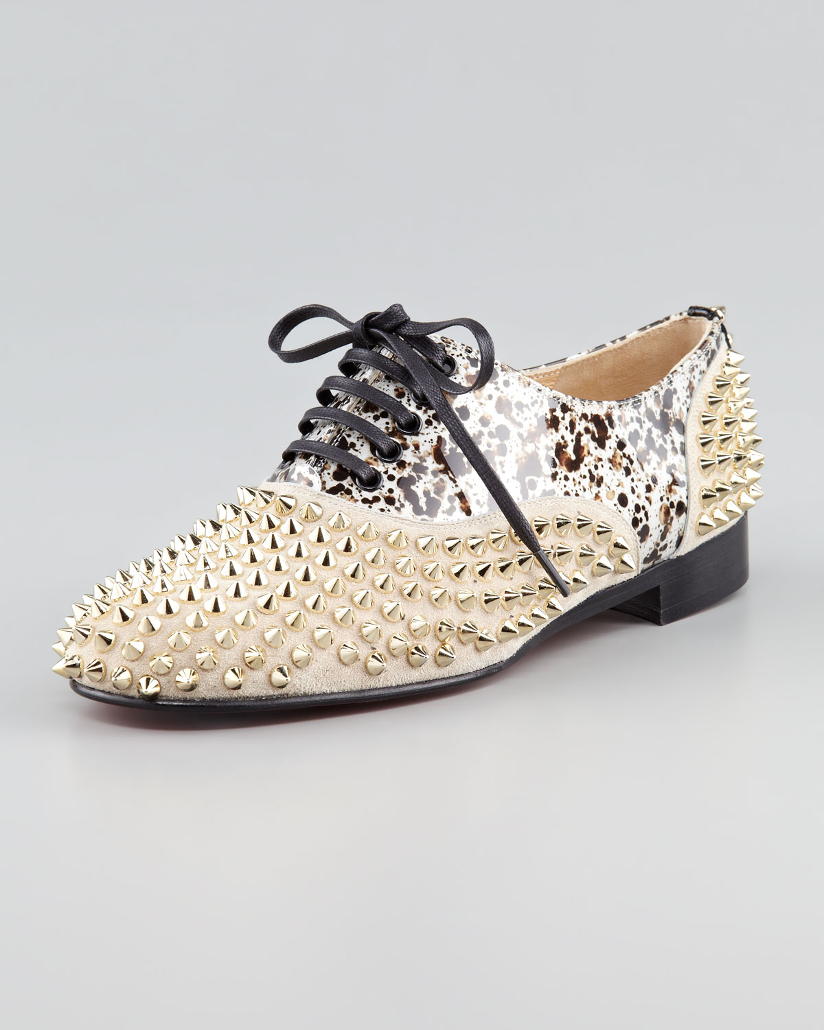 cce0f5d32470 Lyst - Christian Louboutin Freddy Studded Flat Oxford in Metallic