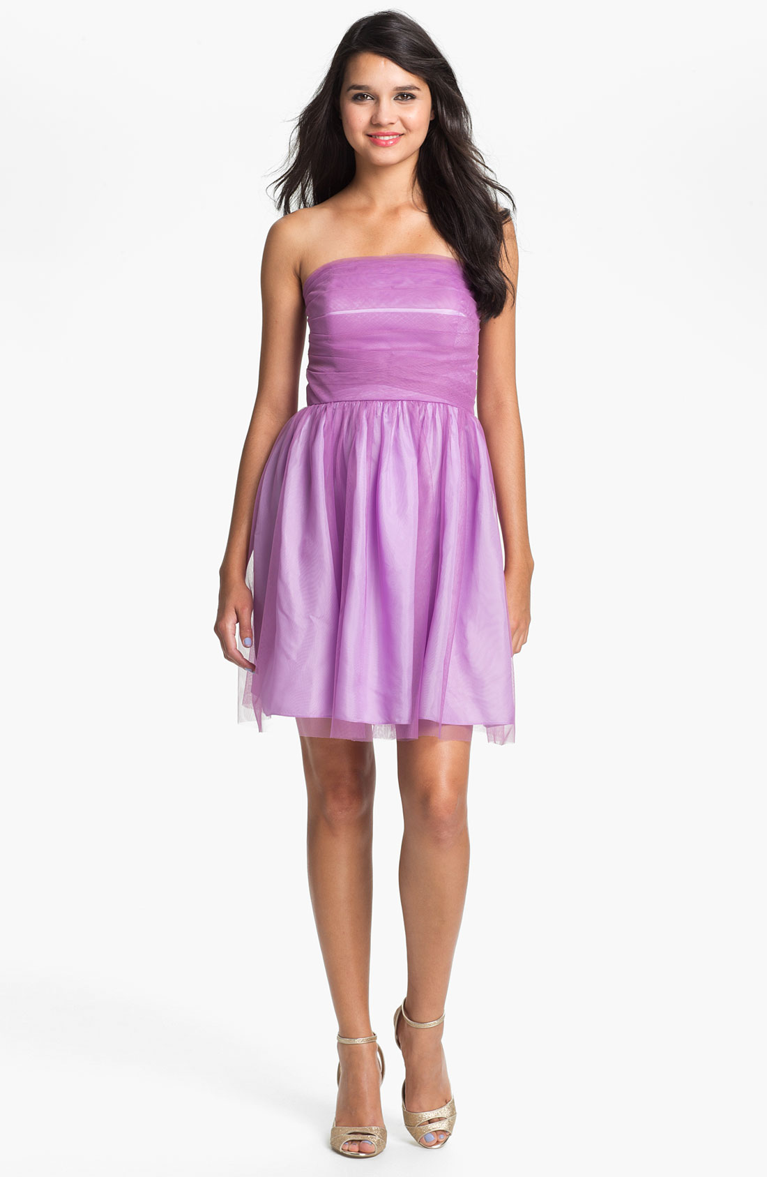 Donna Morgan Kaylin Strapless Tulle Overlay Fit Flare