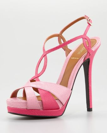 Fendi Twisted T-Strap Two-Tone Sandal  - Lyst