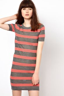 Markus Lupfer Lace Stripe Knitted Dress - Lyst
