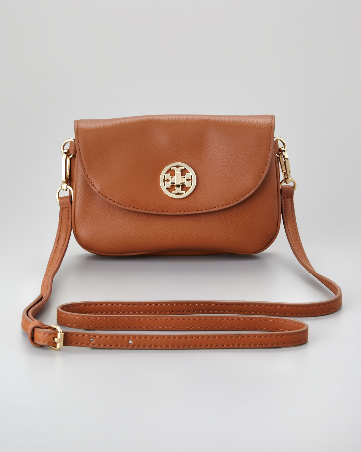 f09a2ba90ee09 Lyst - Tory Burch Robinson Double Gusset Crossbody Bag in Brown