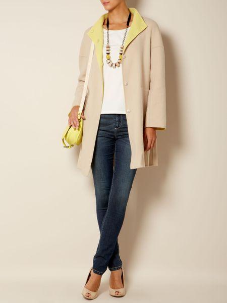 weekend by maxmara adelio reversable coat in yellow lemon. Black Bedroom Furniture Sets. Home Design Ideas