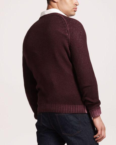 Saint Laurent Cashmere V-Neck Sweater in Purple for Men (prune) - Lyst