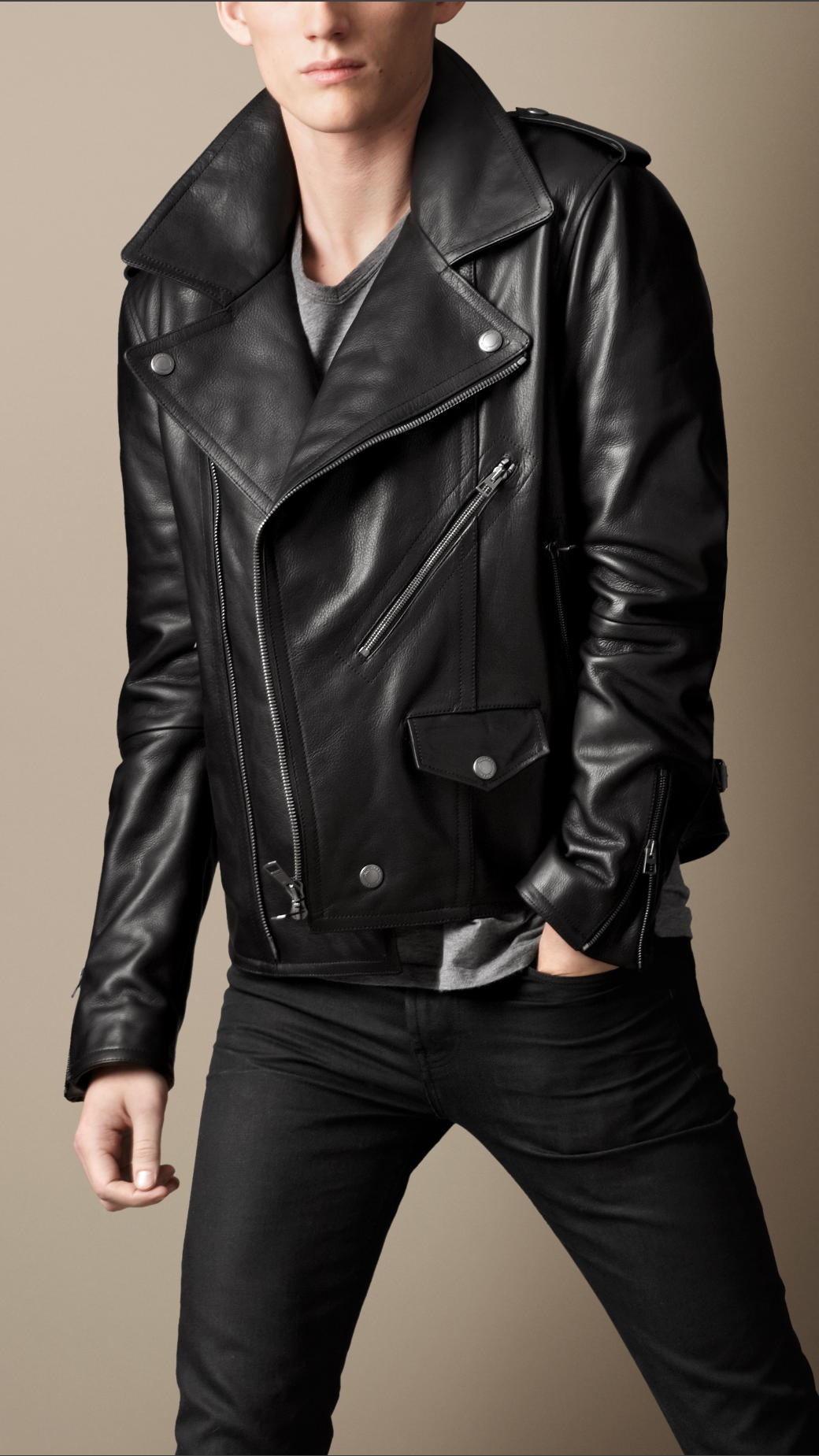 Burberry brit Leather Biker Jacket in Black for Men | Lyst
