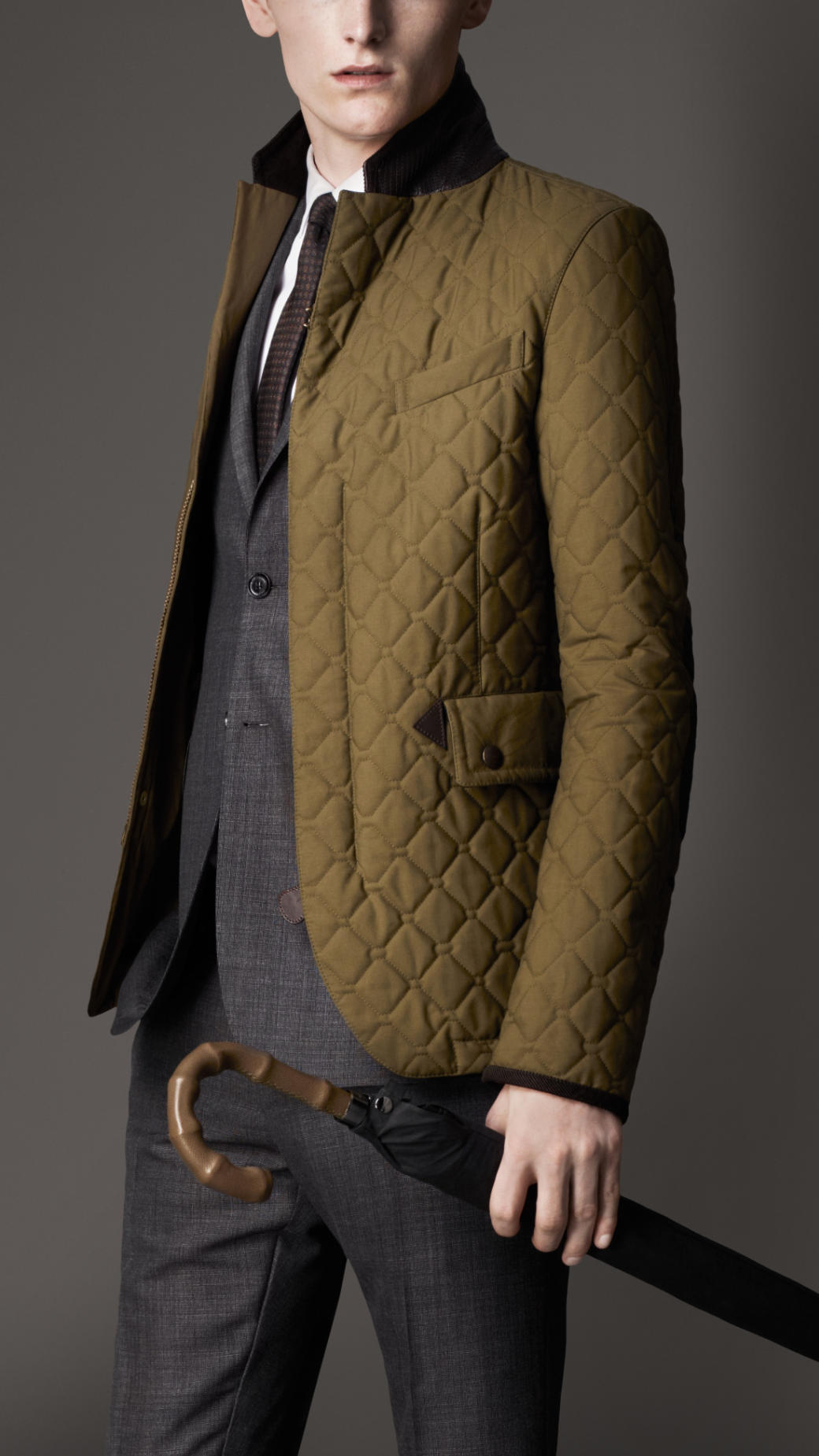 Lyst Burberry Waxed Cotton Quilted Jacket In Green For Men