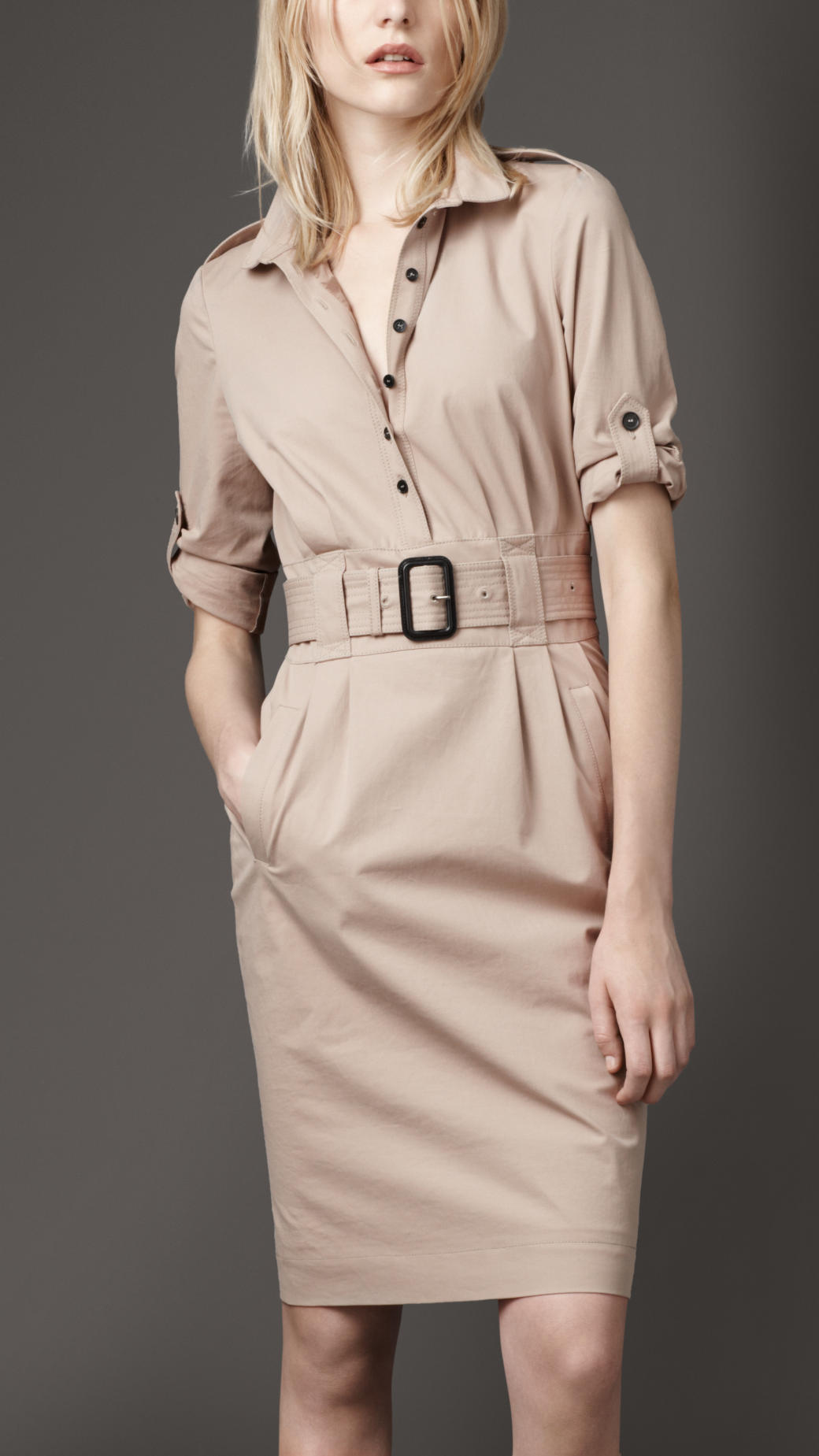 lyst burberry stretch cotton shirt dress in natural