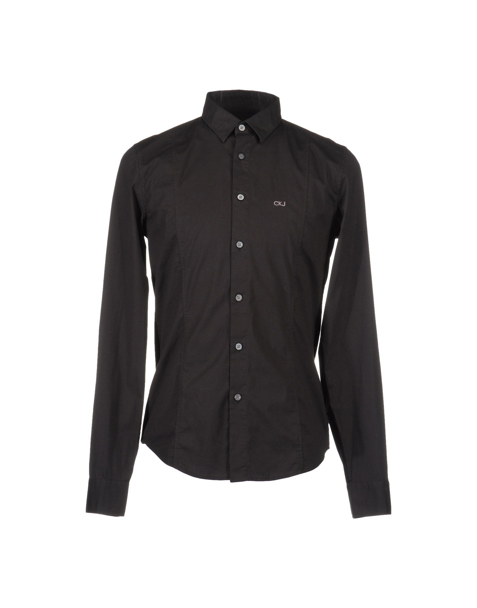 Calvin klein jeans long sleeve shirt in black for men lyst for Calvin klein dress shirts sale