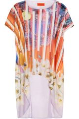 Clover Canyon Printed Fine Jersey and Silk Chiffon Top - Lyst