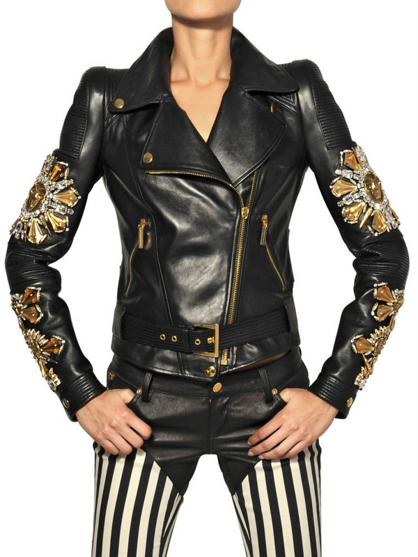 Fausto Puglisi Embroidered Nappa Leather Biker Jacket In