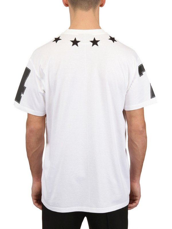 Givenchy stars 74 printed jersey oversize tshirt in white for Givenchy 5 star shirt