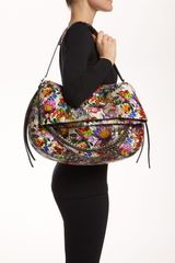 Jimmy Choo Biker Large Floral Genuine Python Shoulder Bag in Multicolor (multi color) - Lyst