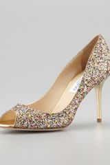 Jimmy Choo Evelyn Glitter Peeptoe Pump - Lyst