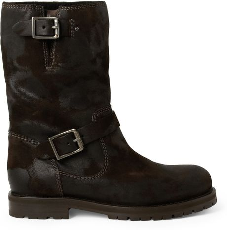 jimmy choo york shearlinglined suede biker boots in brown