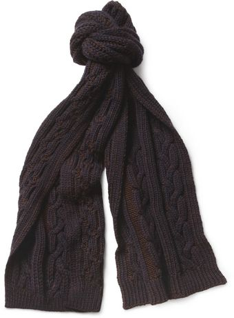Paul Smith Cable knit Wool Scarf - Lyst