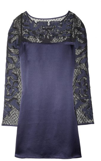 Alice By Temperley Floria Appliquéd Cottonmesh and Silksatin Dress - Lyst