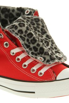 Converse X High Red Snow Leopard Faux Fur - Lyst