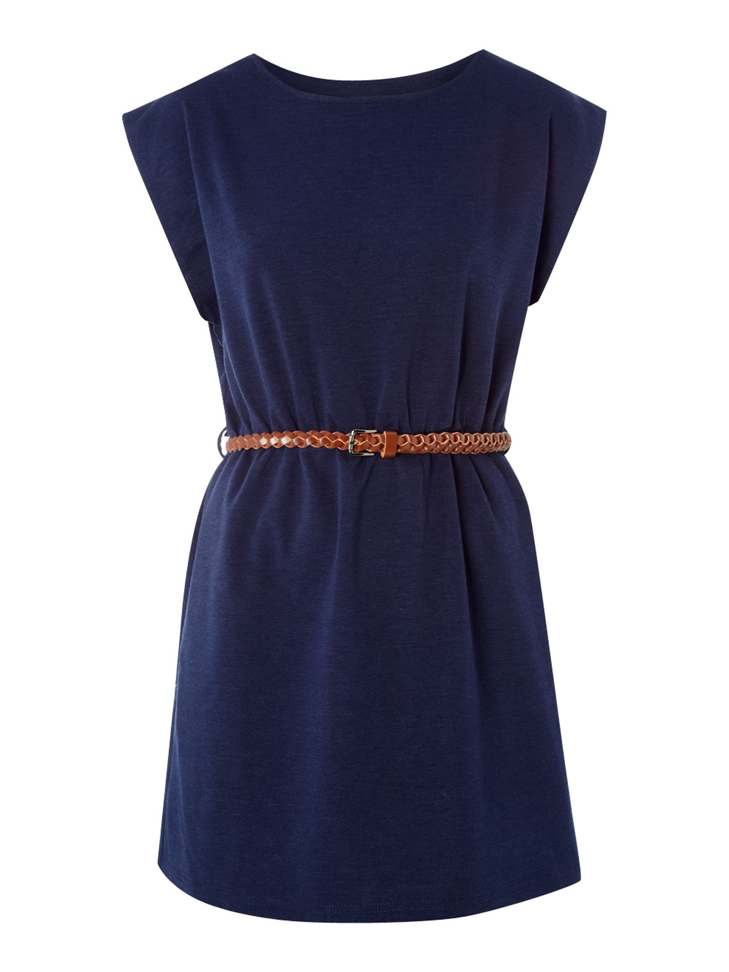 glamorous belted tunic dress in blue navy lyst