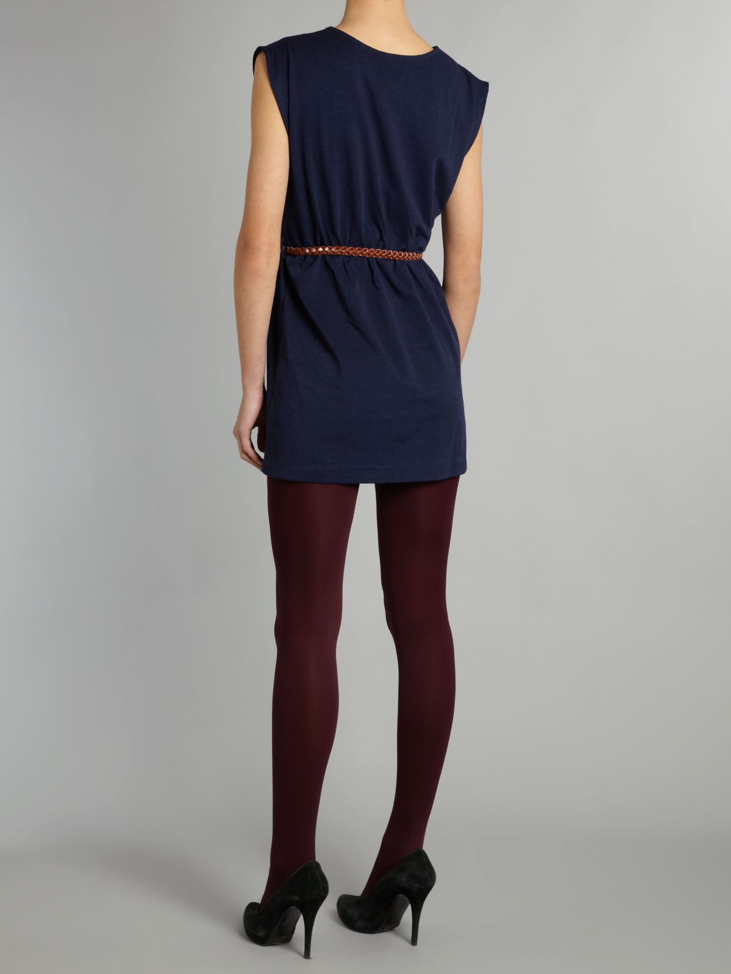 glamorous belted tunic dress in blue lyst