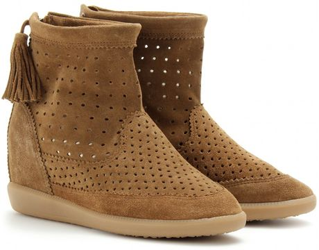 Isabel Marant Basley Suede Wedge Boots in Brown (camel)