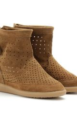 Isabel Marant Basley Suede Wedge Boots in Brown (camel) - Lyst