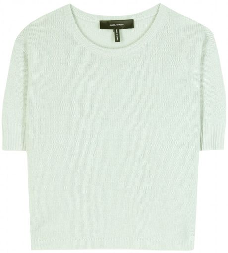 Isabel Marant Chai Cropped Cashmere Pullover in Green (mint)