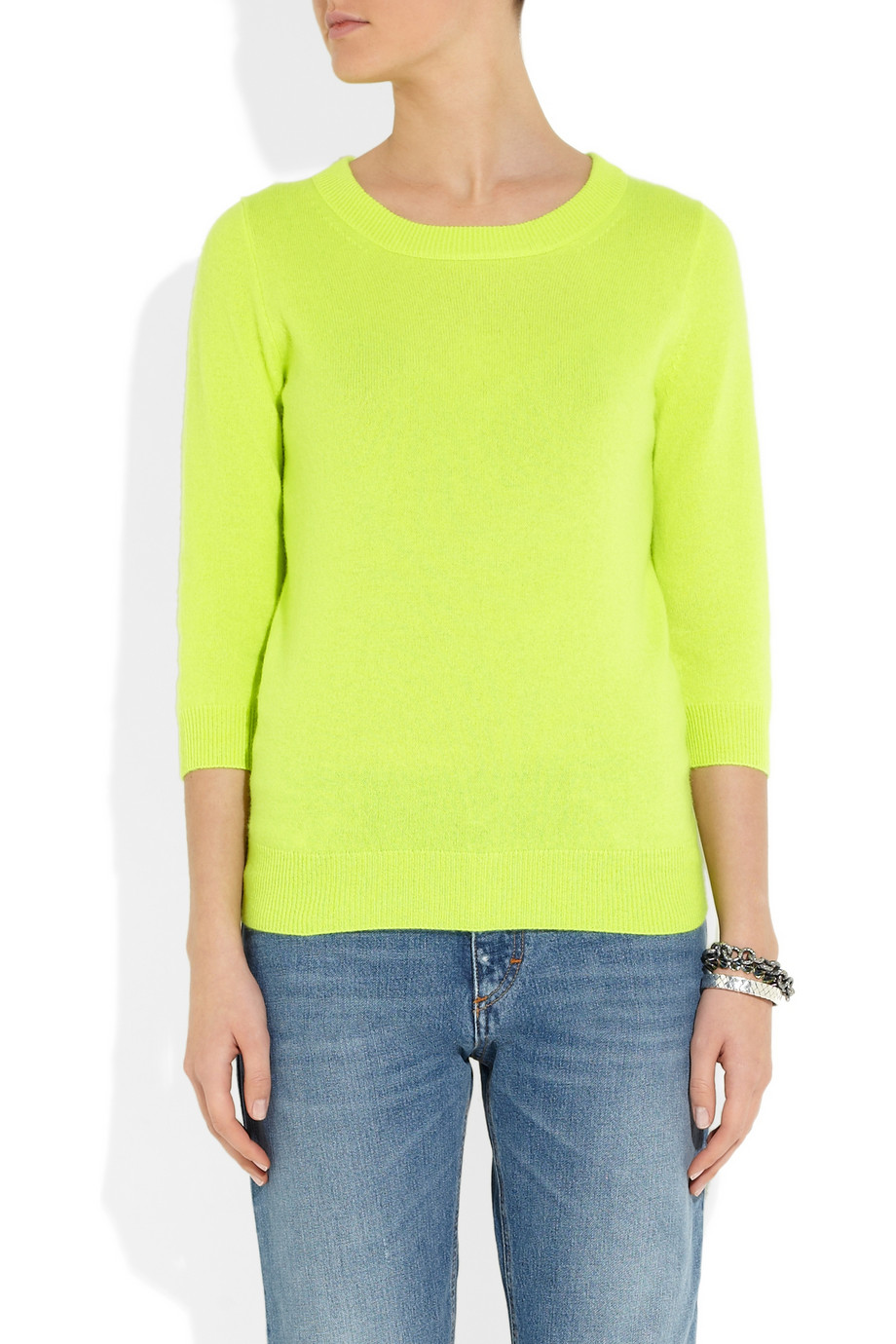 J.crew Tippi Neon Fineknit Cashmere Sweater in Green | Lyst