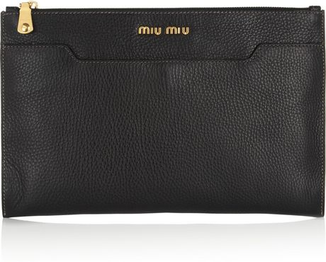 Miu Miu Grainedleather Clutch in Black - Lyst