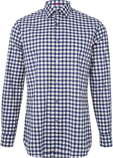 Paul smith navy and white gingham long sleeve shirt in for Navy blue gingham shirt
