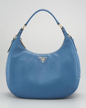 c0b16deb0051 Lyst - Prada Vitello Daino Ziptop Hobo Bag in Blue