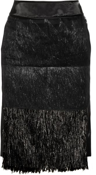 Reed Krakoff Raffia and Satin Pencil Skirt - Lyst