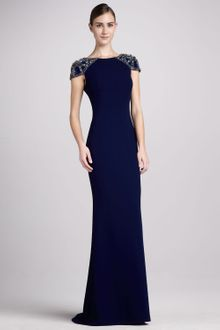 Badgley Mischka Collection Jersey Gown with Beaded Cap Sleeves - Lyst