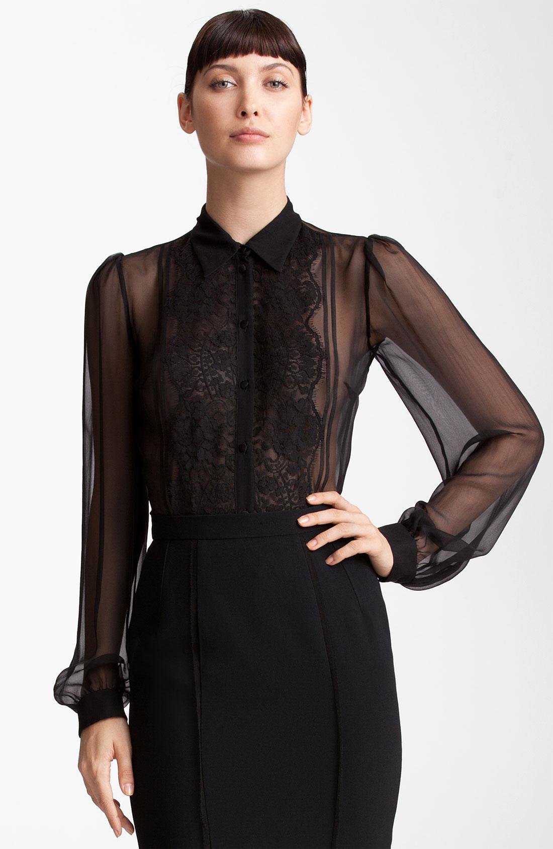 Dolce & gabbana Sheer Chiffon Blouse in Black