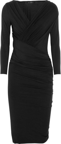 Donna Karan New York Ruched Stretchjersey Dress - Lyst