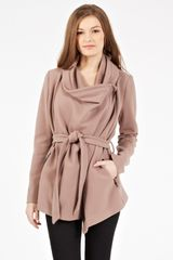 Oasis Biker Drape Coat in Brown (neutral) - Lyst
