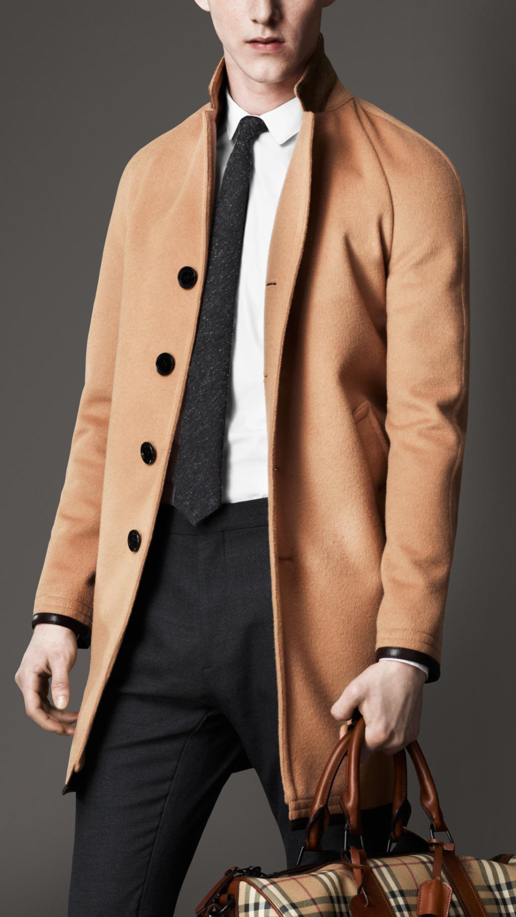 Burberry Leather Trim Wool Cashmere Coat in Natural for Men | Lyst